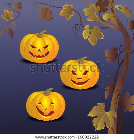 Three smiling pumpkin and  branch of grapes in the night of Halloween