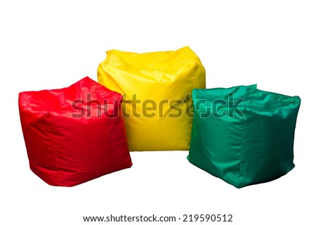 Three soft beanbag seats - stock photo