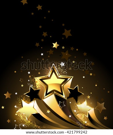 Three sparkling, golden comet on a black background. Design with stars. Golden Star.  - stock photo