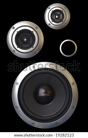 Three speakers and a passive radiator isolated on a black background - stock photo