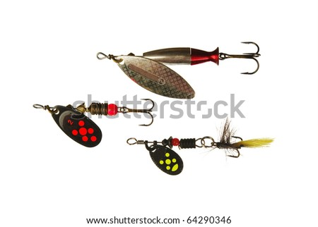 Three spinner lures isolated on white - stock photo