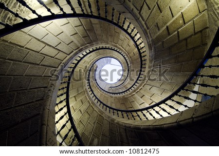 three spiral staircases