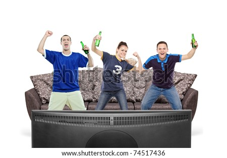 Three sport fans watching TV isolated against white background - stock photo