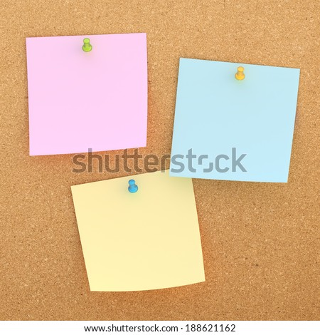 Three square paper notes sticked with the office pins to the cork board background - stock photo