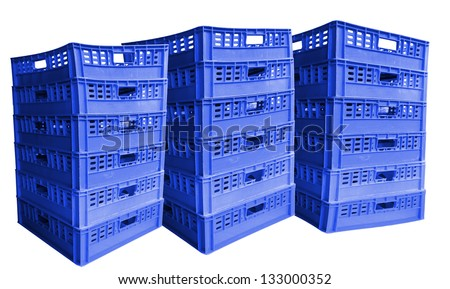 Three stack of blue plastic crates, Isolated on white background