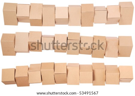 Three stacked  cardboard boxes on white background