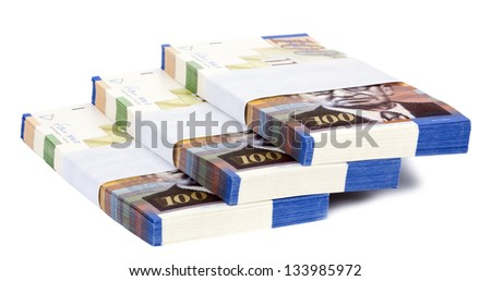 Three stacks of 100 NIS (New Israeli Shekel) money notes on top of each other, spread like a staircase. Shot diagonally, isolated on white background. - stock photo