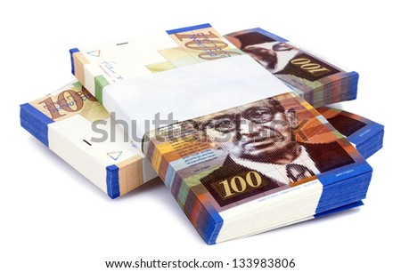 Three stacks of 100 NIS (New Israeli Shekel) money notes on top of eachother, isolated on white background. - stock photo