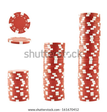 Three stacks of red casino playing chips isolated over white background - stock photo