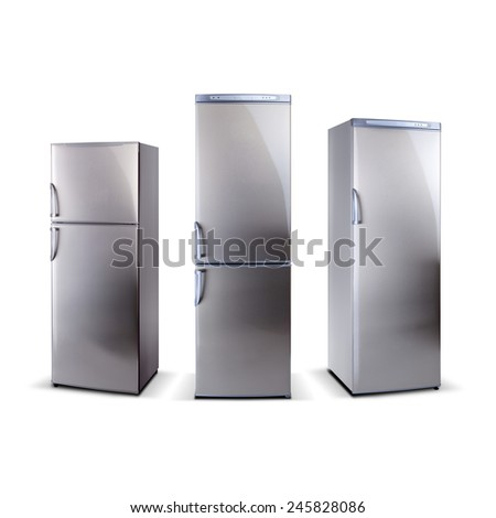 three stainless steel refrigerators isolated on white - stock photo