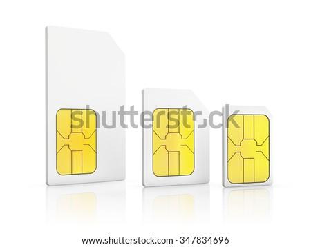 three standard size SIM cards, Mini-SIM, Micro-SIM, Nano-SIM, isolated on white background - stock photo
