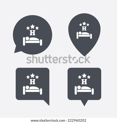 Three star Hotel apartment sign icon. Travel rest place. Sleeper symbol. Map pointers information buttons. Speech bubbles with icons. - stock photo