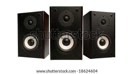 three stereo speaker on white background - stock photo