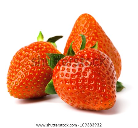 three strawberries is isolated on a white background