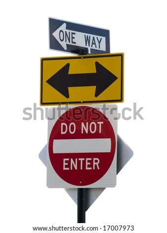 Three street signs over a white background. - stock photo