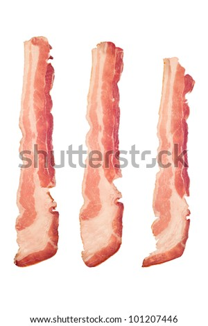 Three strips of raw bacon isolated on a white background.  Image is suitable for many cooking and health inferences. - stock photo