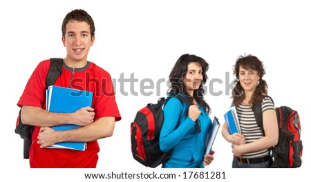 Three students with books and backpacks over a white background. Focus at front
