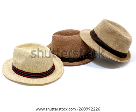 Three Summer panama straw hat - stock photo