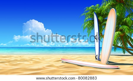 Three surf boards on idyllic tropical sand beach. No noise, clean, extremely detailed 3d render. Concept for surfing, rest, holidays, resort design. - stock photo