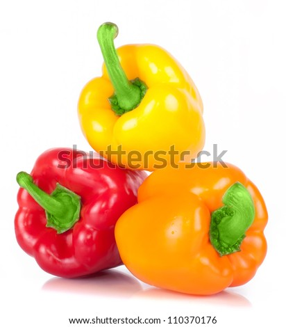three sweet pepper red, orange, and yellow with bright green steam with white light and the water drops diet pepper, isolated on white background