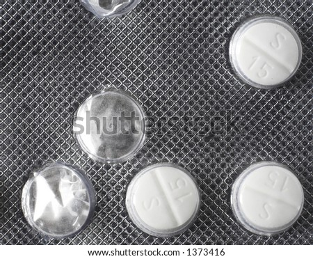 Three tablets remaining in a blister pack