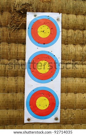 Three target archery. - stock photo