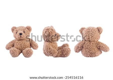 Three teddy bears on white background - stock photo