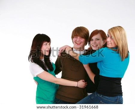 three teen girls fighting over guy