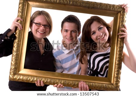 Three teenagers in a antique painting frame - stock photo