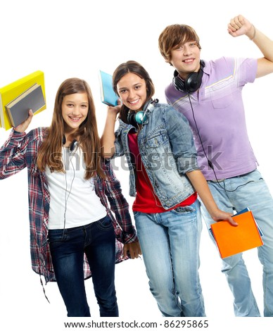 Three teenagers in casual clothes laughing in isolation - stock photo