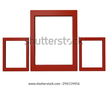 three textured isolated photoframes set in red - stock photo