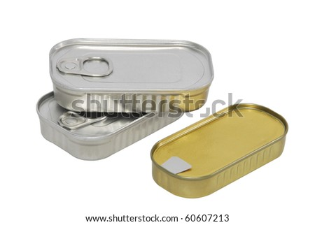 Three tin cans closed isolated over white. Food packaging