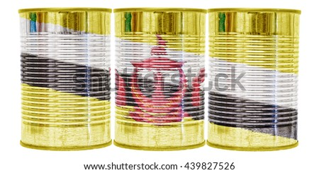 Three tin cans with the flag of Brunei on them isolated on a white background.