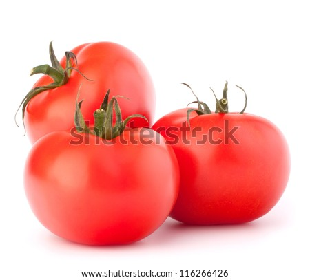 Three tomato vegetables isolated on white background cutout - stock photo