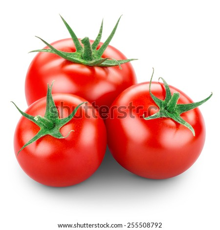 Three tomatoes isolated on white - stock photo