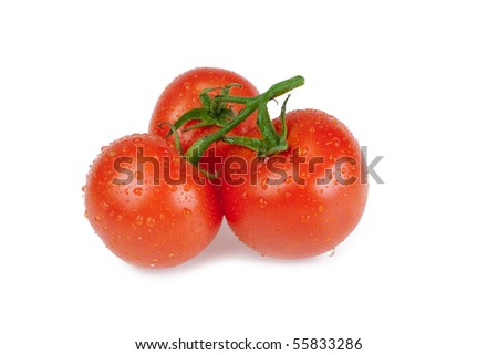 three tomatoes on white background - stock photo
