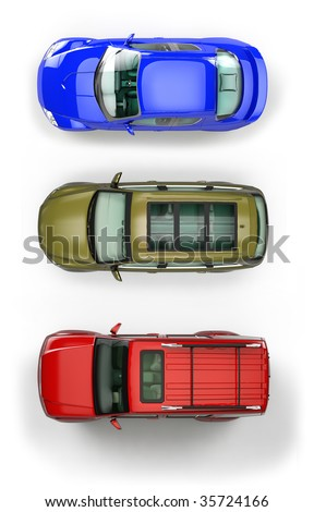 Three top view automobiles isolated on white background - stock photo