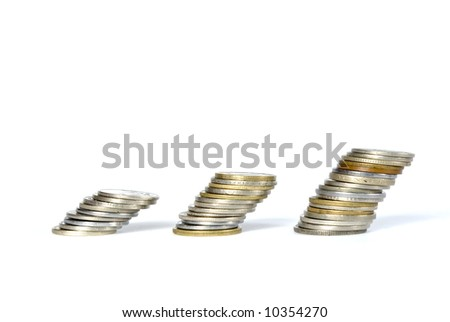 three towers of coins