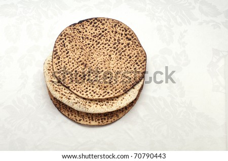 Three traditionally matzas eaten at the passover seder