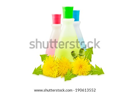 three translucent vial, yellow dandelions with green leaves and buds on a white background - stock photo