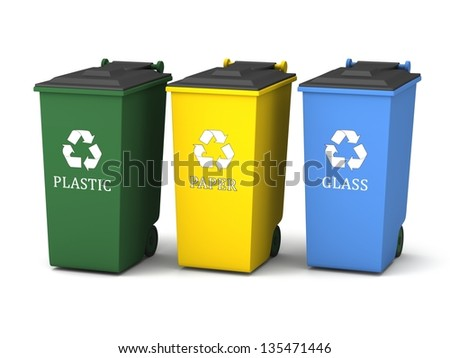 Three  trash cans (garbage bins) with recycle mark on a white background. - stock photo