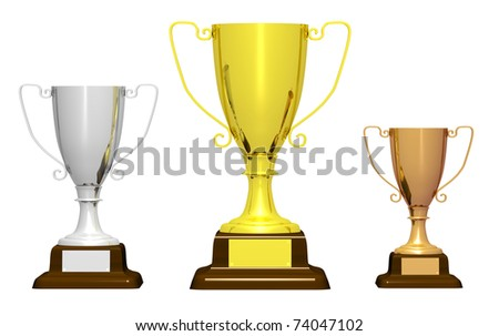 Three trophies (golden, silver and bronze) isolated on white background