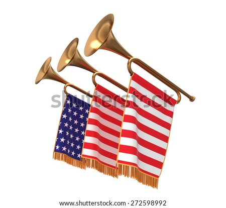 Three trumpets with a flags banners isolated on white. - stock photo