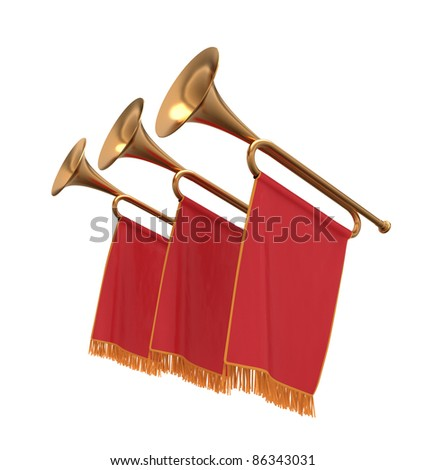 Three trumpets with a red flags pennants banners. - stock photo