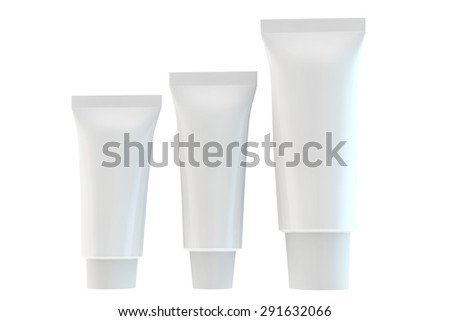 three tubes for hygienic cream or toothpaste