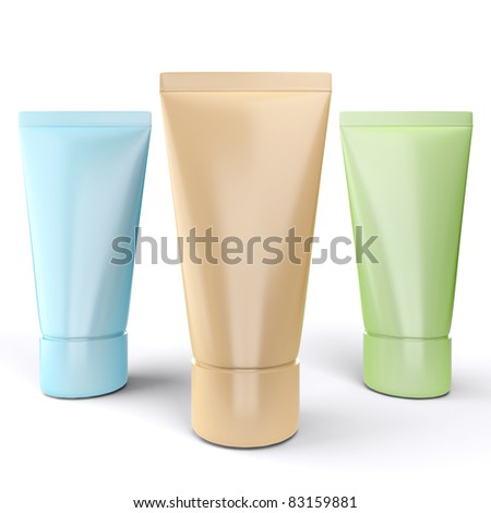 Three tubes with cream on a white background