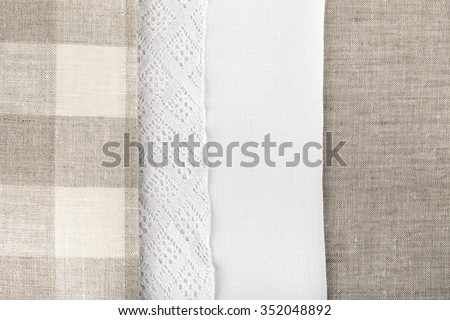 three type of linen fabric texture cloth background - Linen Fabric