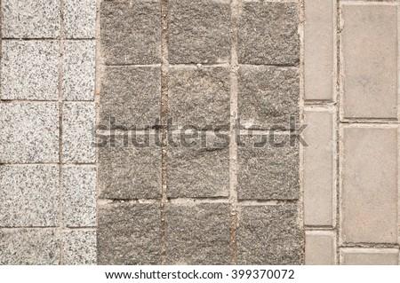 three types of paving slabs - stock photo