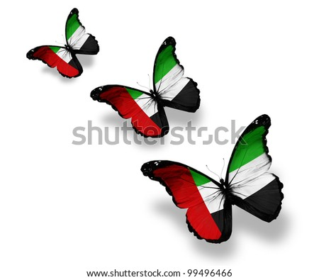 Three UAE flag butterflies, isolated on white - stock photo