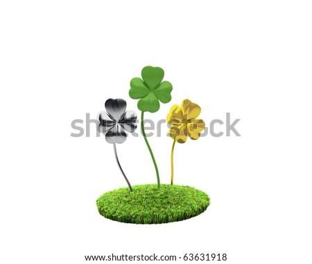 three unnatural clovers on grassy islet - stock photo